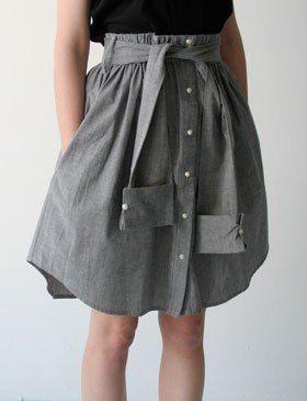 DIY men's shirt skirt