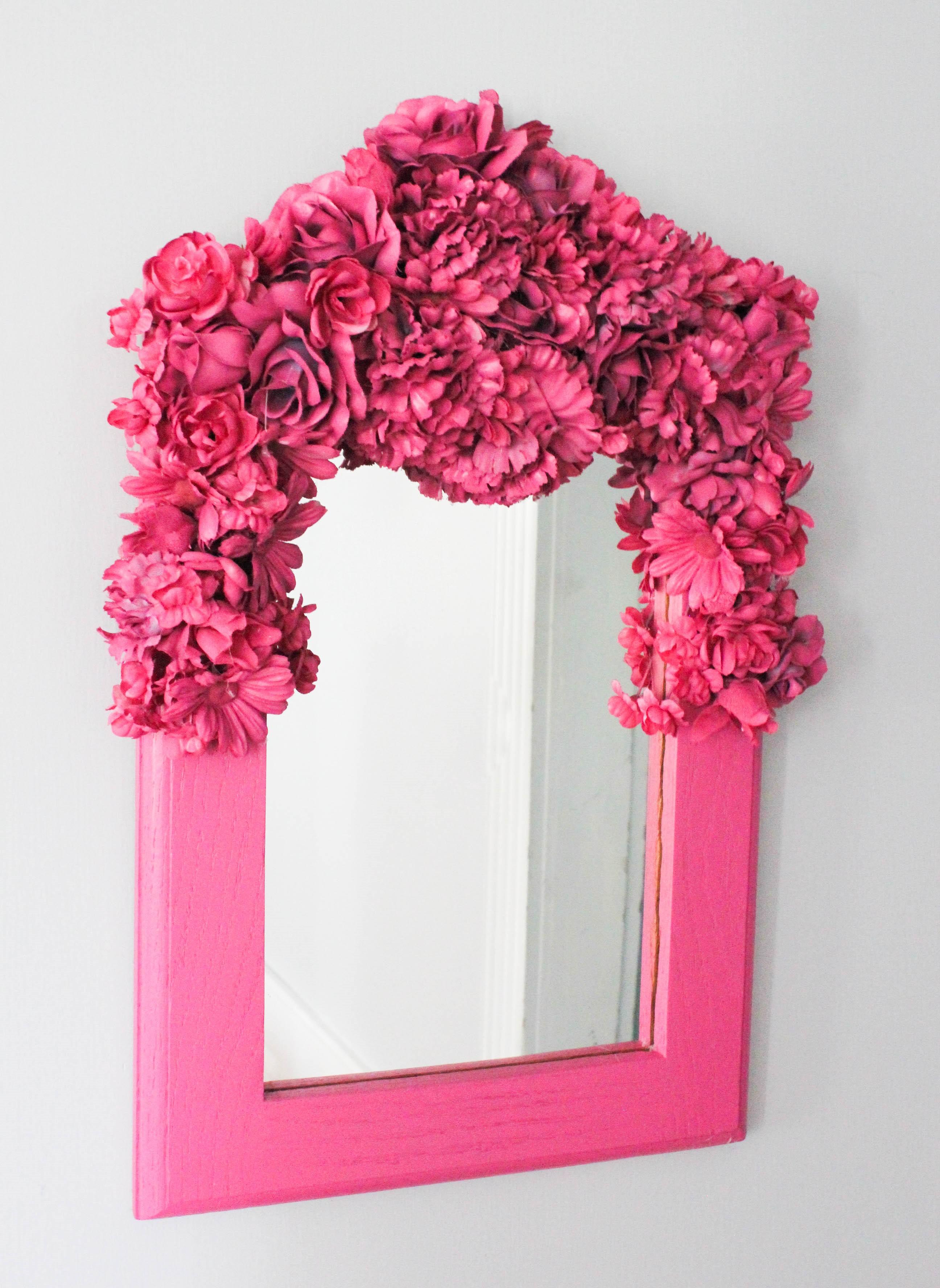 1 Mirror with Silk Flowers & Spray Paint