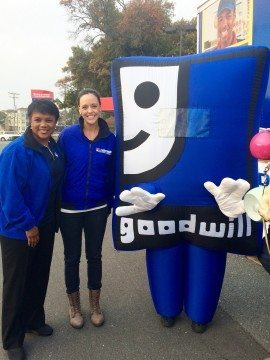 Sonja Gantt and Sarah Hagan of WCNC-TV pose with Smiling G.