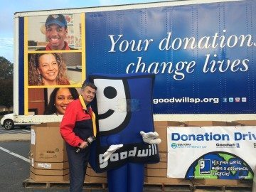 Larry Sprinkle with Goodwill Mascot