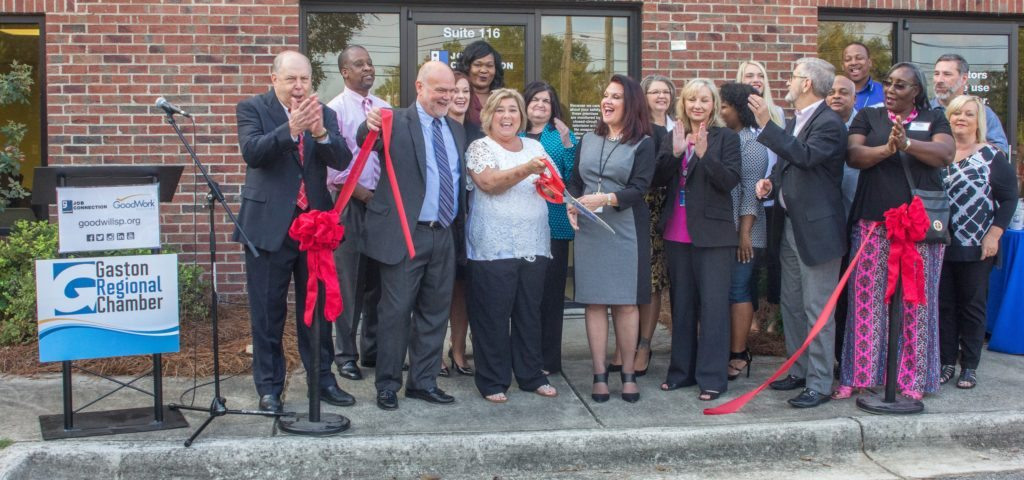 Ribbon cutting ceremony at the newly relocated Goodwill Job Connection GoodWork Staffing Resource Center in Gastonia, NC.