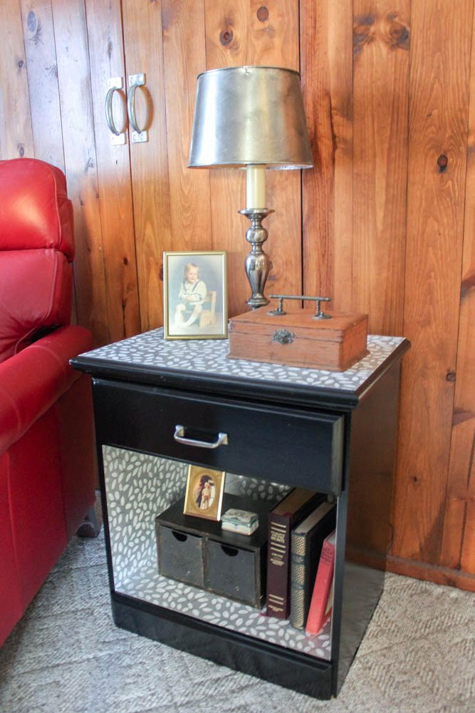 Update An Old Bedside Table With Wallpaper Goodwill