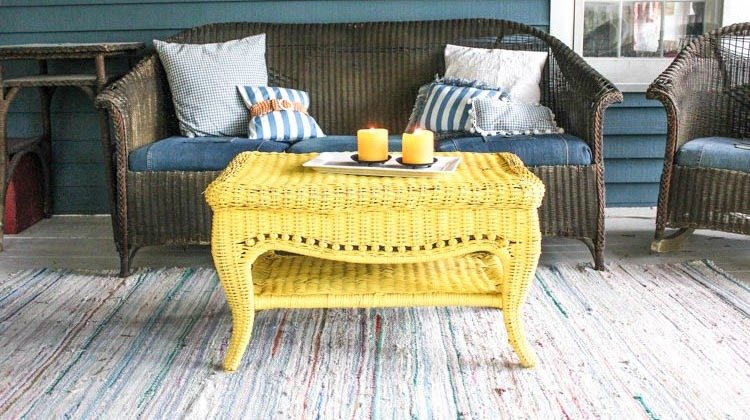 wicker table with some candles