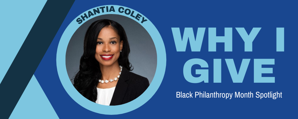 Headshot of Shantia Coley with text that reads Black Philanthropy Month Spotlight